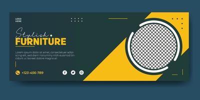 furniture social media facebook cover template vector