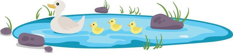 Cute ducklings following mama duck vector illustration isolated