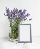A bouquet of lavender in the interior of a kitchen photo