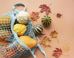 composición otoñal con calabazas surtidas en bolsa de hilo ecológica foto
