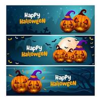 colección de pancartas de halloween vector