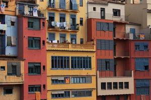 Multi-colored facades of old houses photo