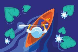 Boatman in lake illustration concept vector