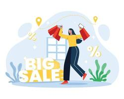 Girls shopping from big sale discount shop illustration concept vector