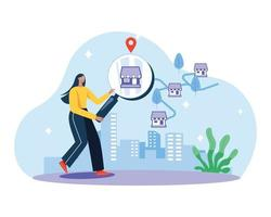 Selecting shop for shopping illustration concept vector