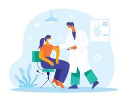 Doctor putting injection illustration concept vector
