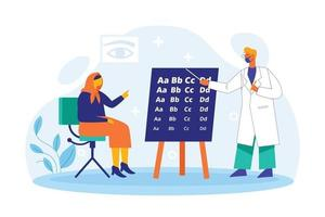 Eye doctor with patient illustration concept vector