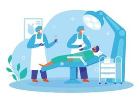 Doctors in operation theatre with emergency patent illustration vector