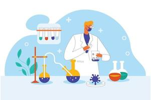 Doctor in laboratory illustration concept vector