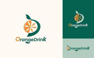 Orange drinks logo icon design concept vector