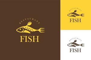 Fish food restaurant logo design concept vector