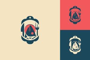 Fish restaurant logo icon concept design vector