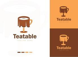 Tea table logo design concept vector design