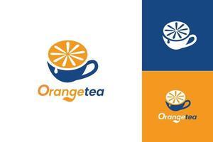Orange tea logo icon design concept vector