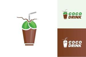 Coco drink logo design concept vector