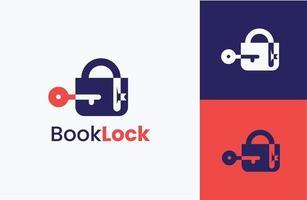 Book lock logo design concept vector