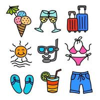 beach resort colorful outline icons vector