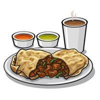 corne burito and sauces vector