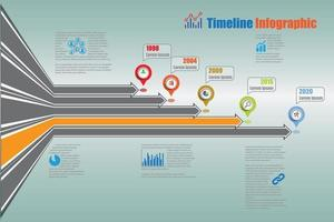 Modern business roadmap timeline infographic with 5 options vector