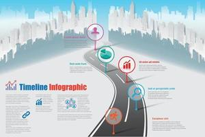 City business roadmap timeline infographic city design vector