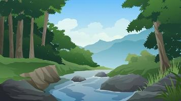 Cartoon Forest Landscape With River And Rocks vector