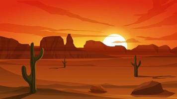 Desert Sunset Landscape With Cactus And Mountain vector