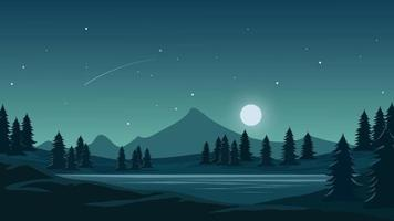 Night Landscape With Mountain And Moonlight vector
