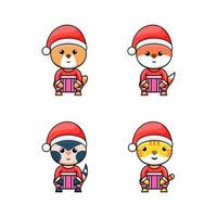 Set animal character with Christmas concept design vector
