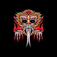 Devil with illustration barong bali design vector