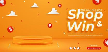 Shop and win, invitation contest horizontal banner template vector