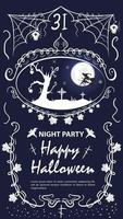 Vintage label invitation for the Halloween holiday tree vector