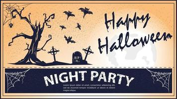 Vintage invitation for the Halloween Holiday Scary Tree Cemetery vector