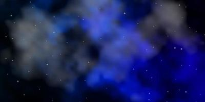 Dark BLUE vector background with small and big stars.