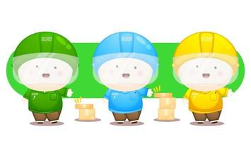 Set of cute delivery man with different multiple costume vector