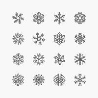 Collection of Christmas Snowflake ornament icons on white background. vector