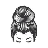 Woman face with messy hair bun and long eyelashes vector line art