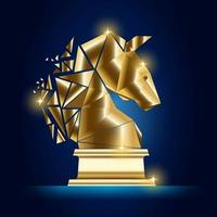 Wireframe Knight chess luxury gold geometry Concept Design. vector