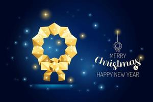 Wireframe Merry Christmas floral wreath luxury gold geometry Concept vector