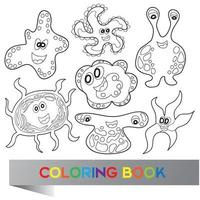 Cartoon cute funny monsters - vector coloring book