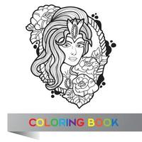 tattoo design of nice girl with long curly hair - coloring book vector