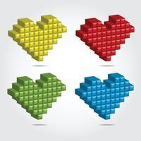 Pixel 3D vector illustration for Design - set of hearts