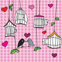 St. Valentine's day greeting card with birds - vector illustration