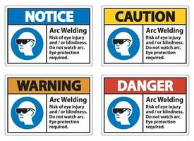 Warning Sign Arc Welding Risk Of Eye Injury And Or Blindness vector