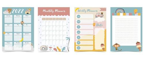 2022 table calendar week vector
