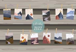 2022 table calendar week start on Sunday with mountain and sun vector