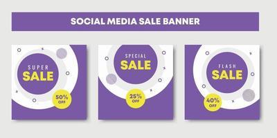 sale social media post design templates vector set
