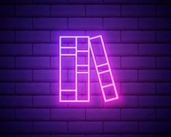 Books on shelf neon sign. Night bright advertisement vector