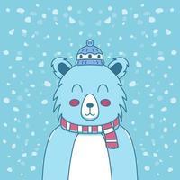 polar bear celebrating christmas vector