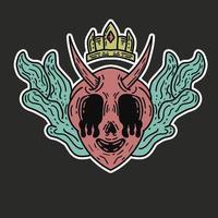 hand drawn demon king crying vector