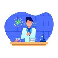 Man scientist in research laboratory working on research vector